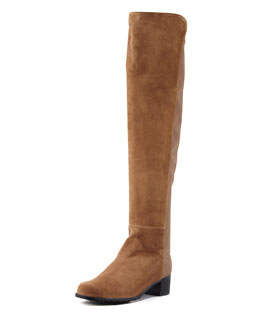 Stuart Weitzman Reserve Suede Stretch-Back Over-the-Knee Boot, Tan