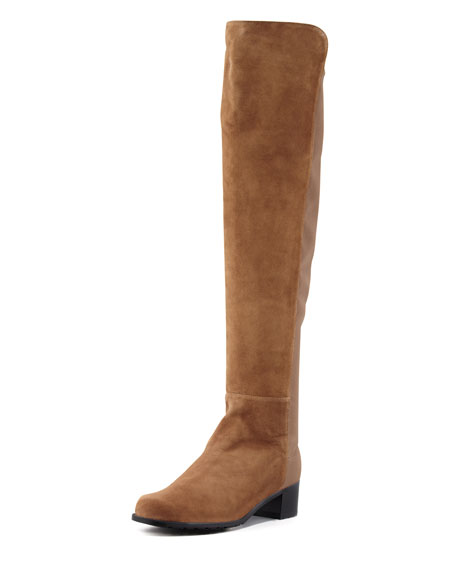 Reserve Wide Suede Stretch-Back Over-the-Knee Boot, Tan
