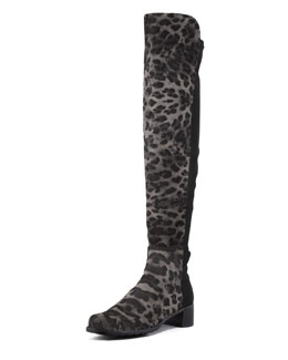 Stuart Weitzman Reserve Leopard Print Stretch-Back Over-the-Knee Boot, Smoke