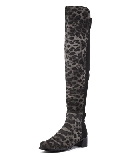 Reserve Leopard Print Stretch-Back Over-the-Knee Boot, Smoke
