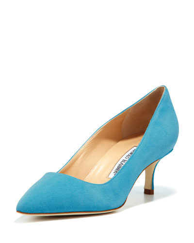 Manolo Blahnik BB Suede 50mm Pump, Malibu Blue