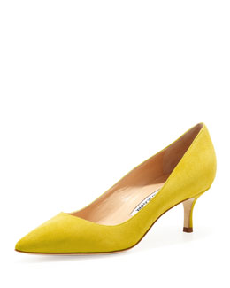 Manolo Blahnik BB Suede 50mm Pump, Limone
