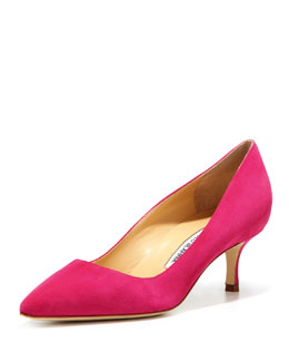 Manolo Blahnik BB Suede 50mm Pump, Fuchsia (Made to Order)