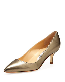 Manolo Blahnik BB Metallic Leather 50mm Pump, Alba