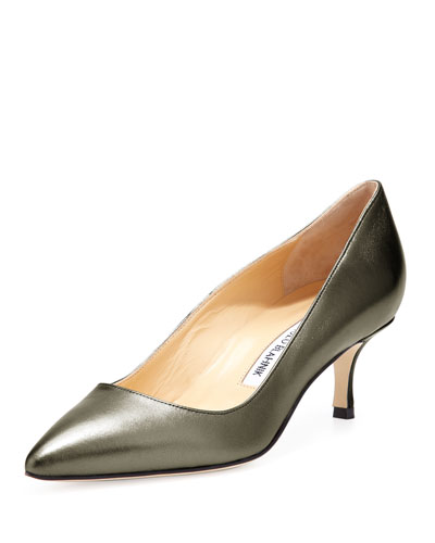 Manolo Blahnik BB Metallic Leather 50mm Pump, Anthracite