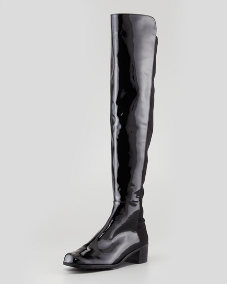 Reserve Narrow Patent Stretch-Back Over-the-Knee Boot, Black