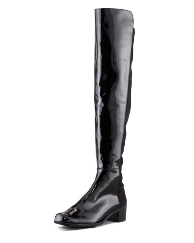 Stuart Weitzman Reserve Patent Stretch-Back Over-the-Knee Boot, Black