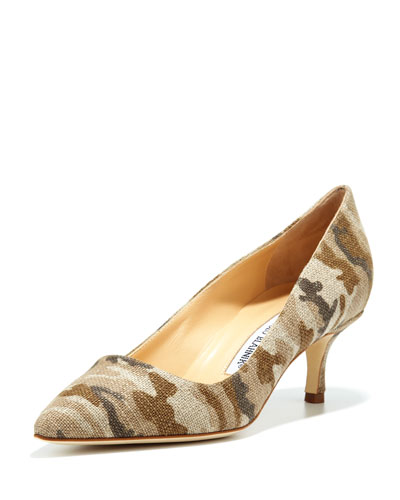 Manolo Blahnik BB Linen 50mm Pump, Camo