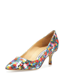 Manolo Blahnik BB Satin 50mm Pump, Floral