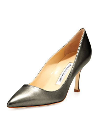 Manolo Blahnik BB Leather 70mm Pump, Anthracite