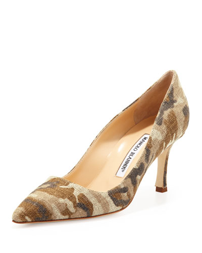 Manolo Blahnik BB Linen 70mm Pump, Camo