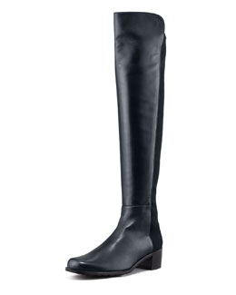 Stuart Weitzman Reserve Leather Stretch-Back Over-the-Knee Boot, Navy
