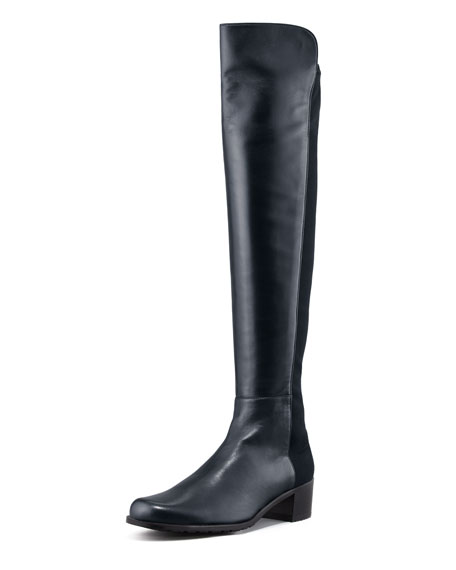 Reserve Wide Leather Stretch-Back Over-the-Knee Boot, Navy
