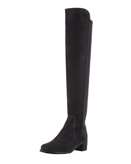 Stuart Weitzman Reserve Narrow Suede Stretch-Back Over-the-Knee Boot, Black