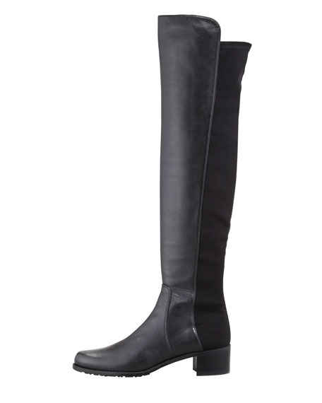 Reserve Wide Leather Stretch-Back Over-the-Knee Boot, Black