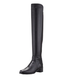 Stuart Weitzman Reserve Wide Leather Stretch-Back Over-the-Knee Boot, Black