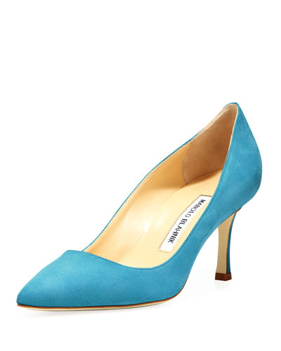 Manolo Blahnik BB Suede 70mm Pump, Malibu Blue