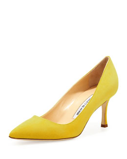 Manolo Blahnik BB Suede 70mm Pump, Limone
