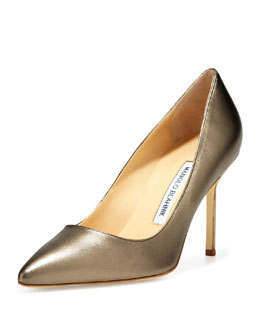 Manolo Blahnik BB Metallic Leather 90mm Pump, Alba