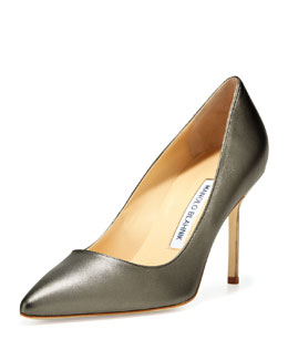 Manolo Blahnik BB Metallic Leather 90mm Pump, Anthracite