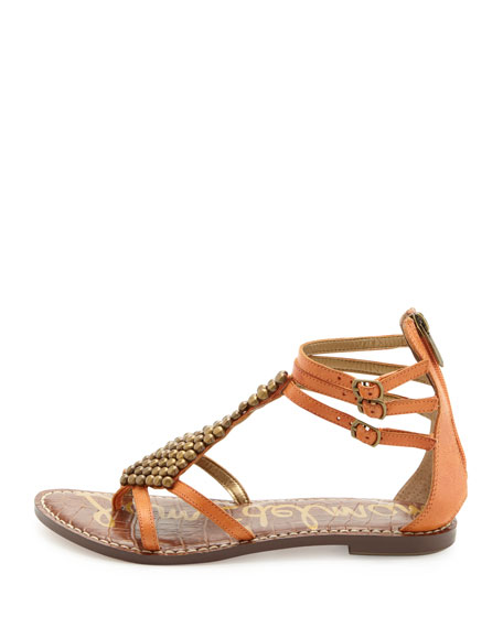 Ginger Studded Gladiator Sandal, Clementine