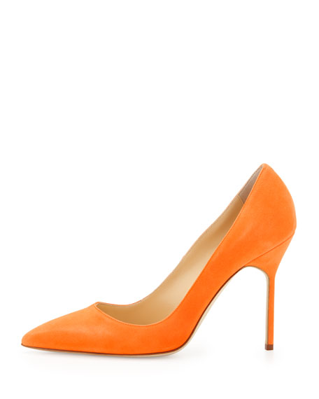 BB Suede 105mm Pump, Orange