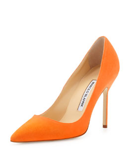 Manolo Blahnik BB Suede 105mm Pump, Orange (Made to Order)