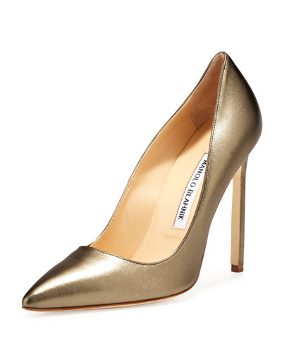 Manolo Blahnik BB Metallic Leather 115mm Pump, Alba