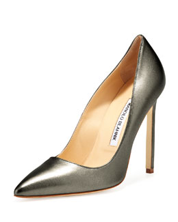 Manolo Blahnik BB Metallic Leather 115mm Pump, Anthracite (Made to Order)