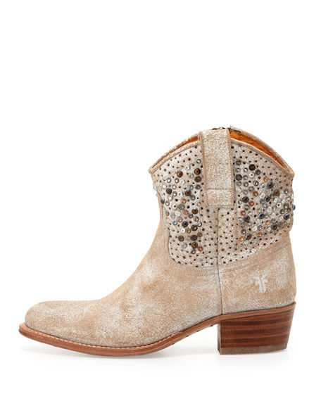 Deborah Studded Short Boot, White
