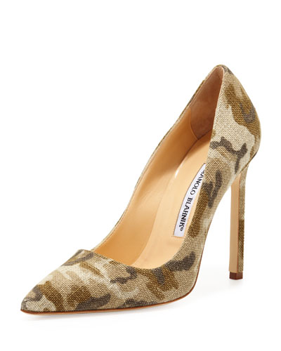 Manolo Blahnik BB Linen 115mm Pump, Camo