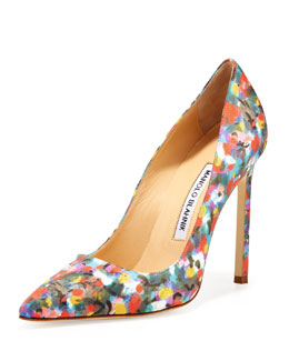 Manolo Blahnik BB Satin 115mm Pump, Floral (Made to Order)