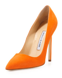 Manolo Blahnik BB Suede 115mm Pump, Orange (Made to Order)