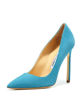 Manolo Blahnik BB Suede 115mm Pump, Malibu Blue (Made to Order)