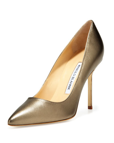 Manolo Blahnik BB Metallic Leather 105mm Pump, Alba