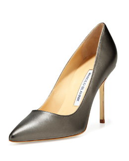 Manolo Blahnik BB Metallic Leather 105mm Pump, Antracite