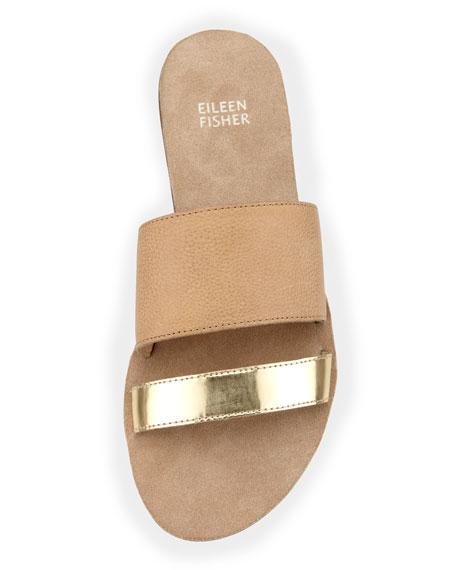 Folly Metallic-Leather Slide Sandal, Nude/Platinum