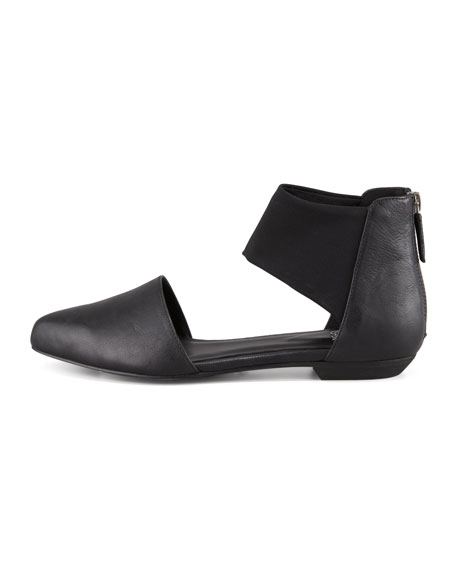 Allot Leather d'Orsay Flat, Black