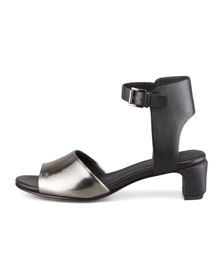 Catch Leather Ankle-Wrap Sandal, Pewter
