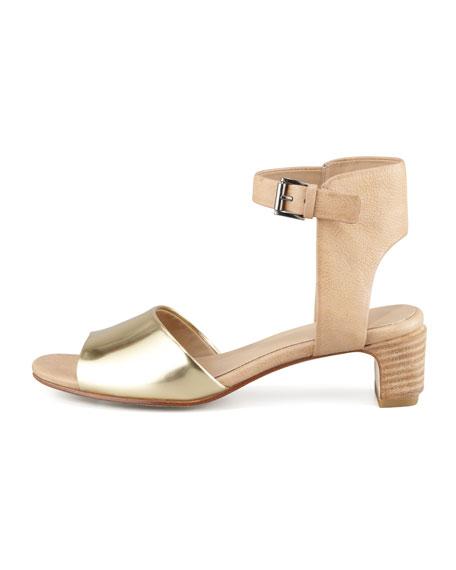 Catch Leather Ankle-Wrap Sandal, Platinum