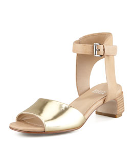 Eileen Fisher Catch Leather Ankle-Wrap Sandal, Platinum
