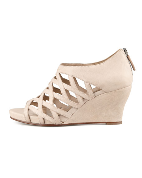 Cage Strappy Leather Wedge Sandal, Buff