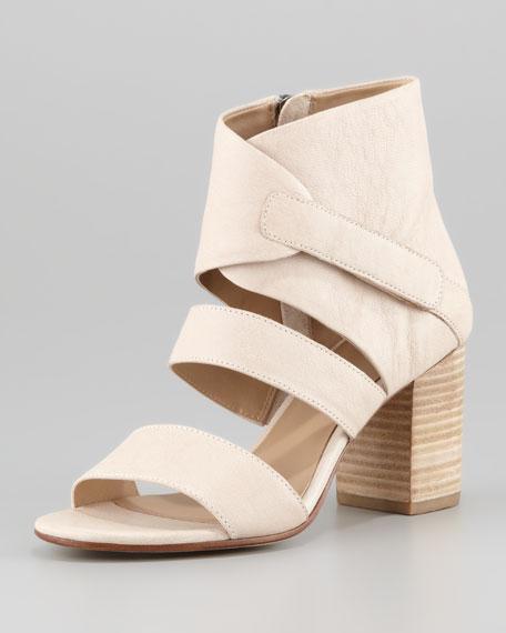 Tier Leather Ankle-Wrap Sandal, Buff