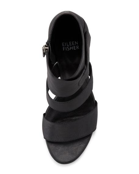 Tier Leather Ankle-Wrap Sandal, Black
