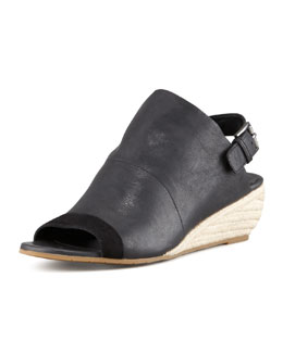 Eileen Fisher Blink Leather Slingback Wedge, Black