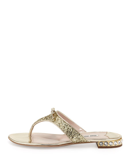 Glittered Crystal-Heel Thong Sandal