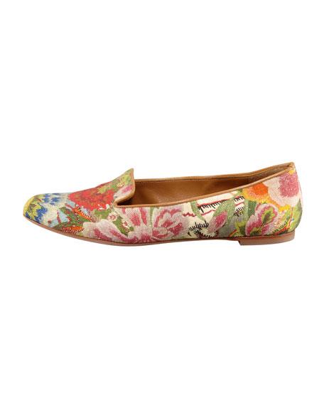 Floral-Print Cotton Smoking Slipper