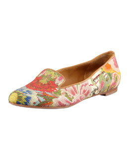 Alexander McQueen Floral-Print Cotton Smoking Slipper