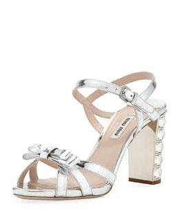 Miu Miu Metallic Crystal-Heel Bow Sandal