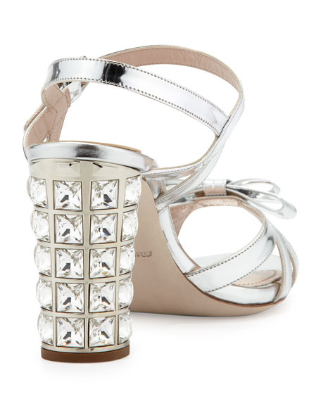 Metallic Crystal-Heel Bow Sandal